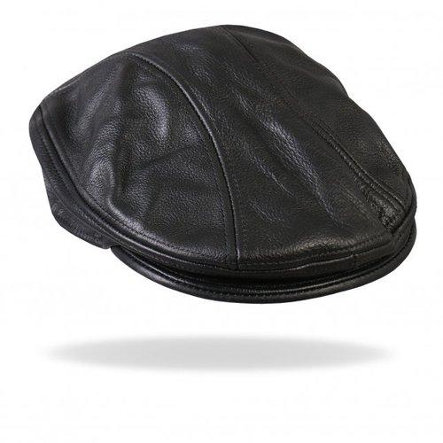 Hot Leathers Classic Black Leather Ascot Cap — Biker s Paradise 8e8692ef287