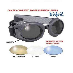 a570857b370 Pacific Coast Airfoil Black Goggles with Interchangeable Polycarbonate  Lenses ...