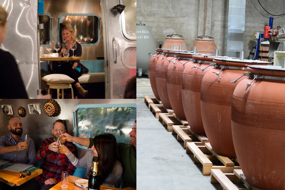 A toast at Lion & Owl and a view of the Amphora in the  Civic Winery  production facility.