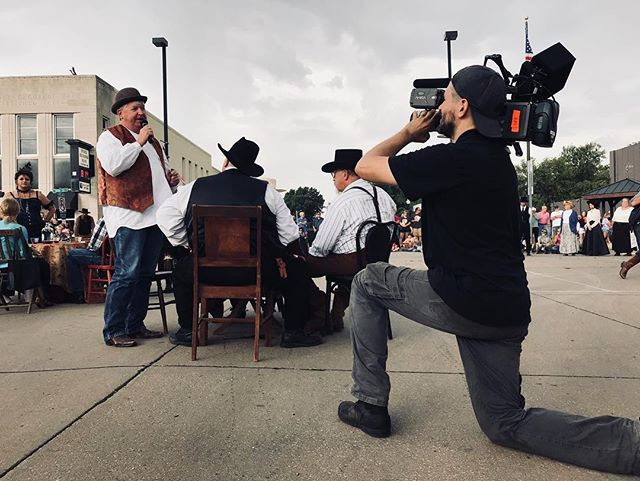 Drew filming a cowboy show in Kansas.