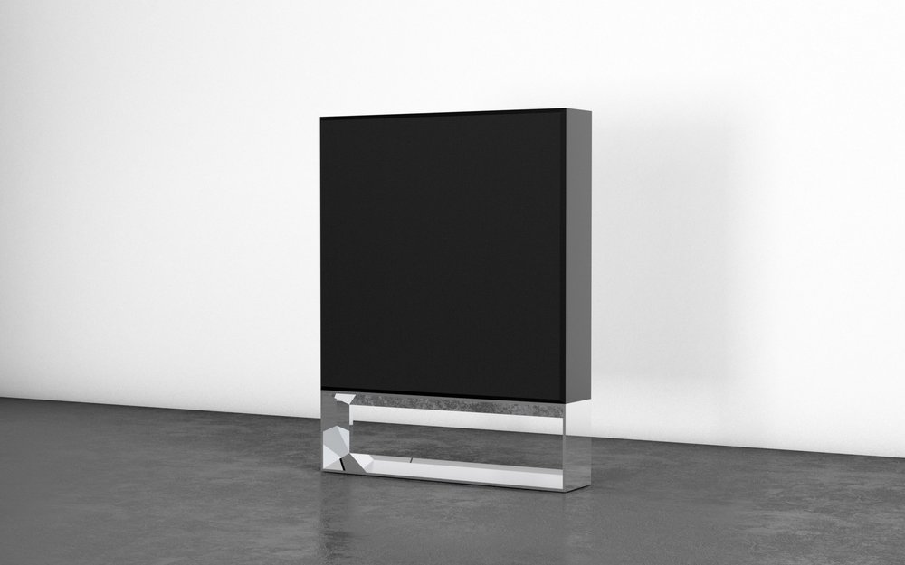 "Top: 78""x78""x15"" — Wood and fabric. Base: 78""x15""x15"" — Stainless steel. Custom playback system."