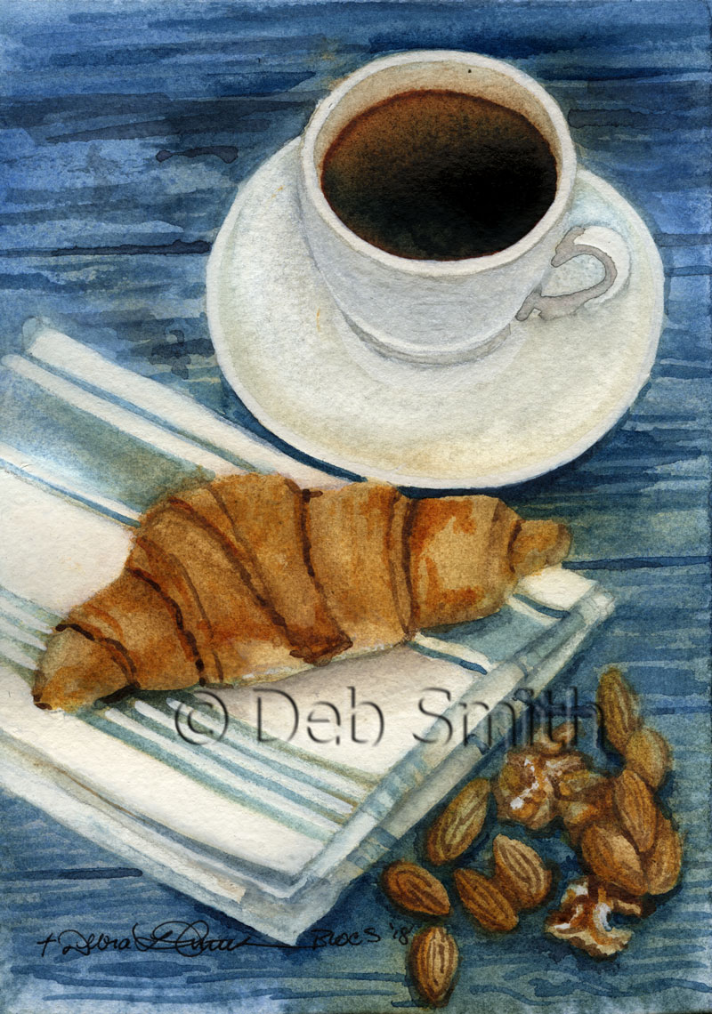 Coffee with Croissant and Nuts