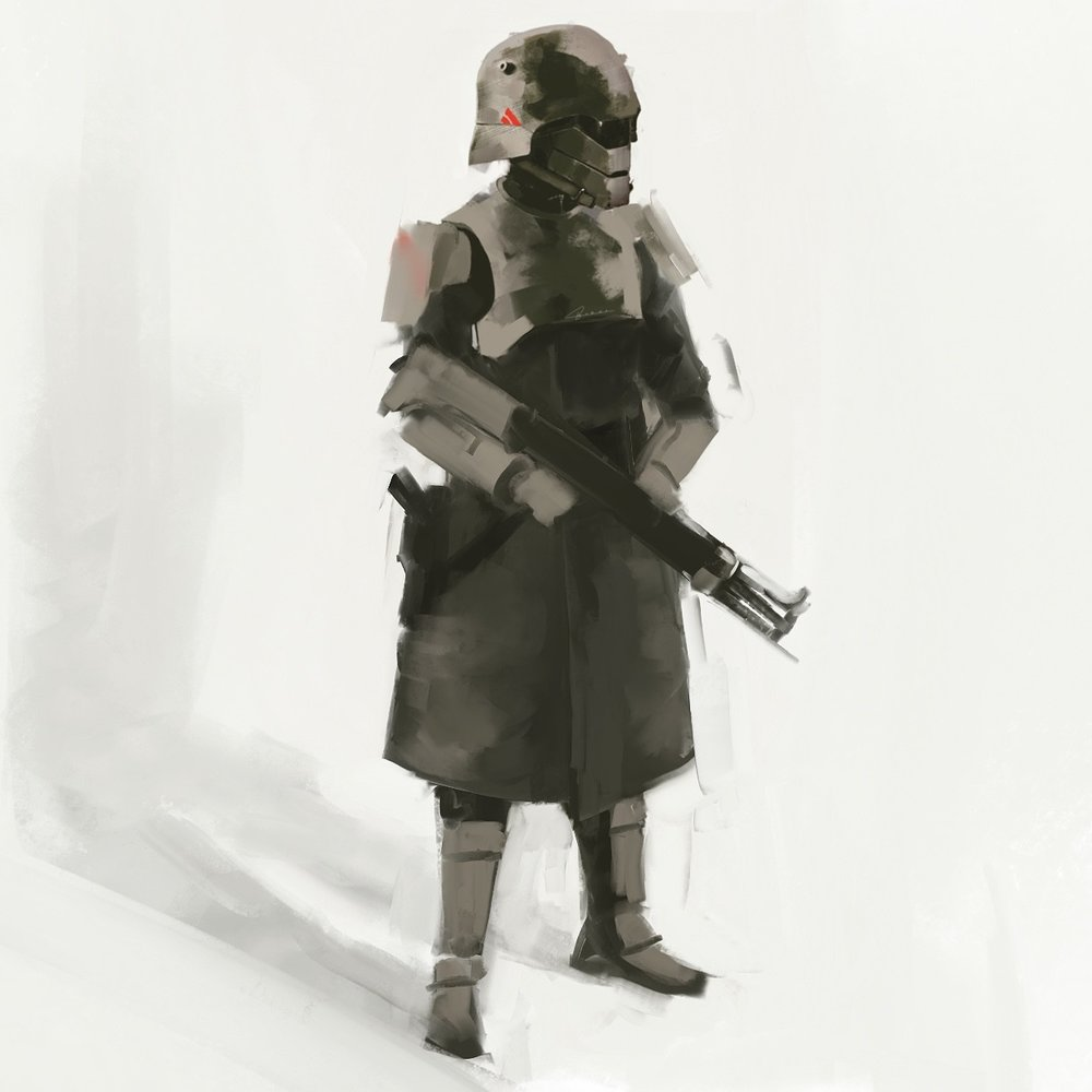 "Early ""Regency trooper"" concept from  War World . The idea was to take classic industrial and fascist ideas and wrap them together in a scarier, more sci-fi package."