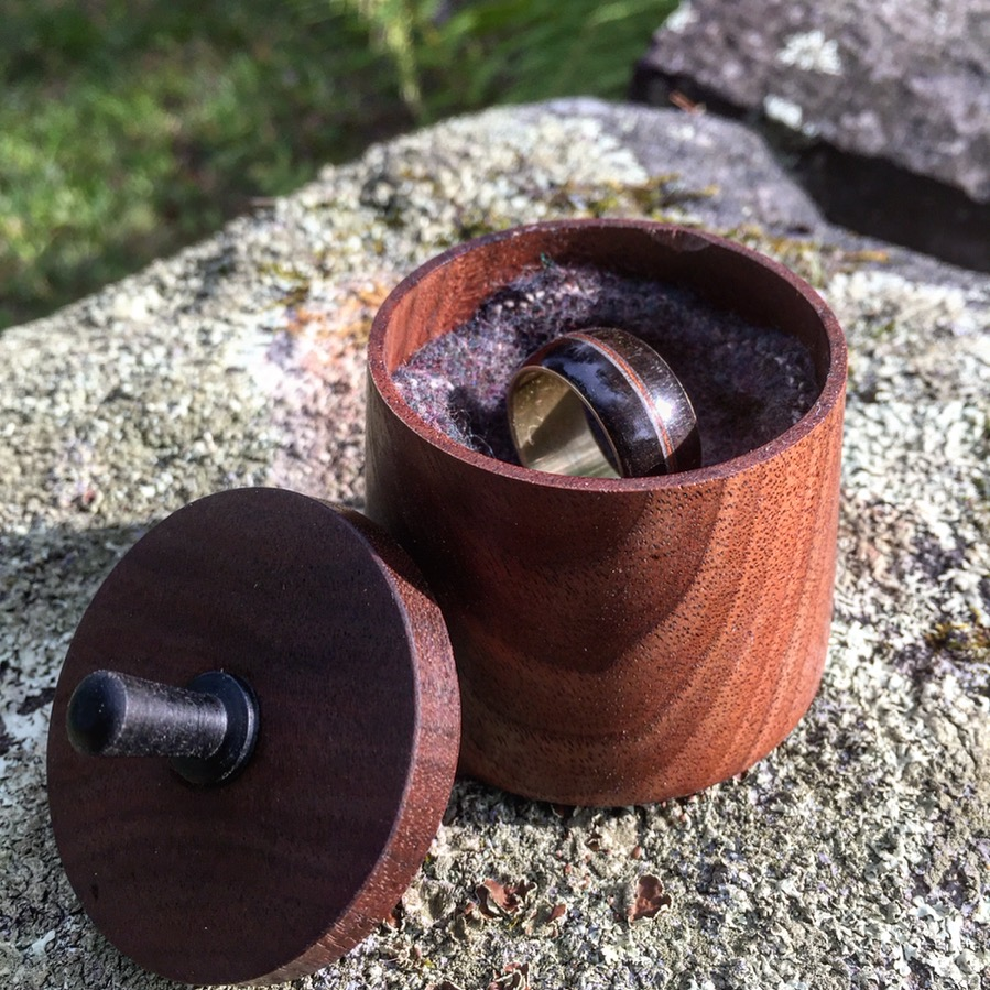 """Five"" Wood Ring & Box - Brass, Ebony, & Walnut - 3 x 2 x 2"