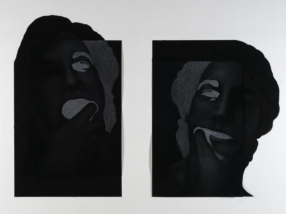 Mary Scott,  Black Powder,  installation 2013. Charcoal and pastel on paper and on walls. Photos Peter Angus Robinson.