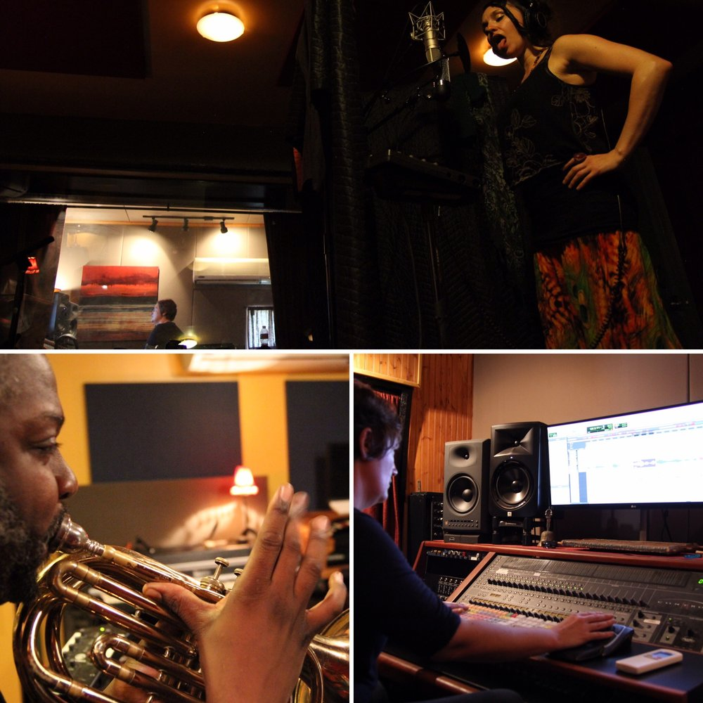 """""""Working with Lynne was extremely rewarding. - It's unusual and exhilarating to work with an accomplished woman in the studio.""""photos: me warming up, Shaunte Palmer recording pocket trombone, Lynne controlling her board."""