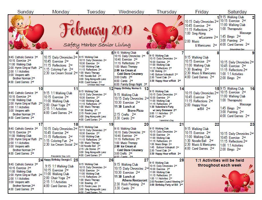 February 2019 Activity Calendar