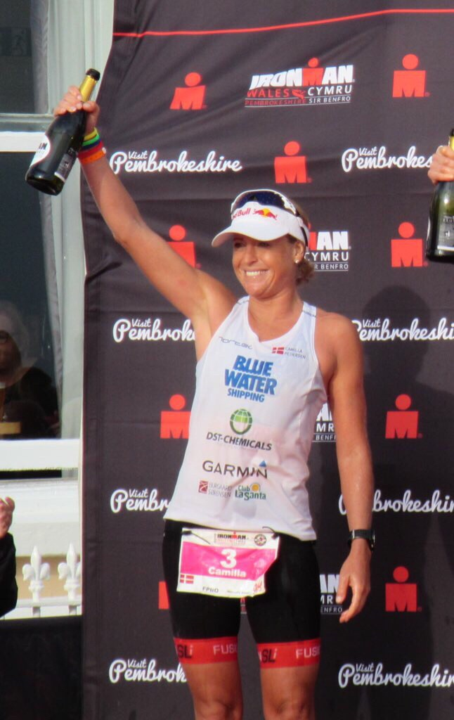Camilla Pedersen on the podium at Ironman Wales 2018