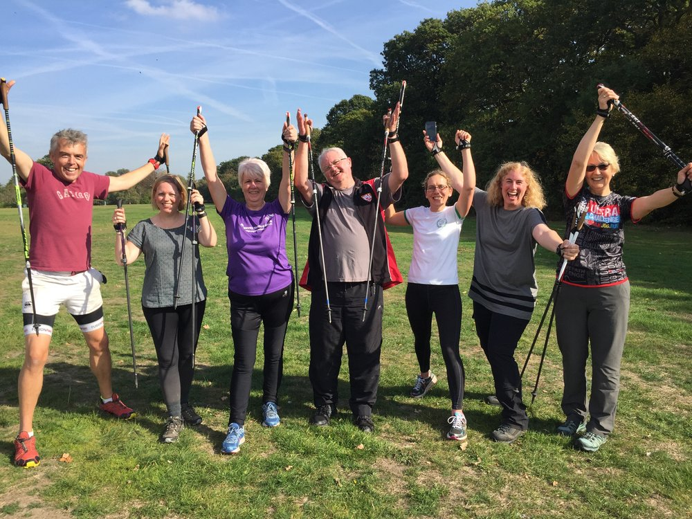 Celebrating becoming a qualified Nordic Walking UK instructor