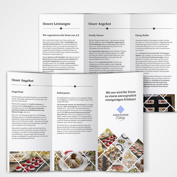 Folder für Adventure Catering (freies Projekt)