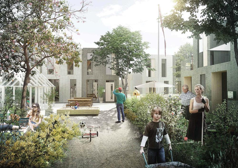 NÆRHEDEN – FREMTIDENS FORSTAD    Fremtidens bæredygtige forstad kombinerer byens tæthed og byliv med forstadens grønne kvaliteter. Bydelen skal være CO2-neutral og opføres med tæt-lavt boligbyggeri.