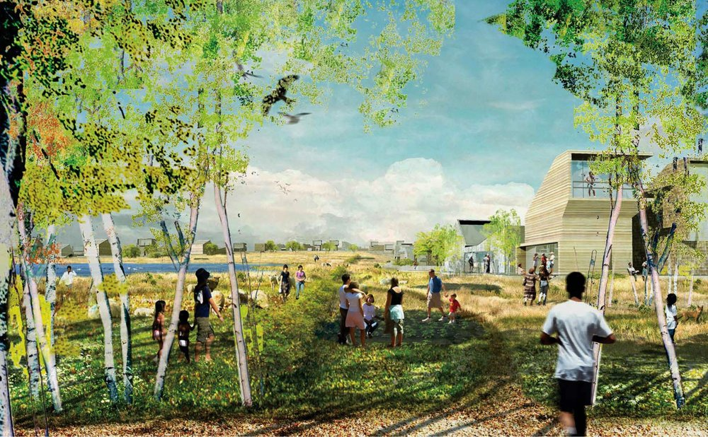 TANKEFULD VED SVENDBORG    Bæredygtigt byudviklingsområde med 500 boliger i tæt kontakt med skov og hav. Enfamiliehuse opføres med aktive tagflader med solceller og beplantning.