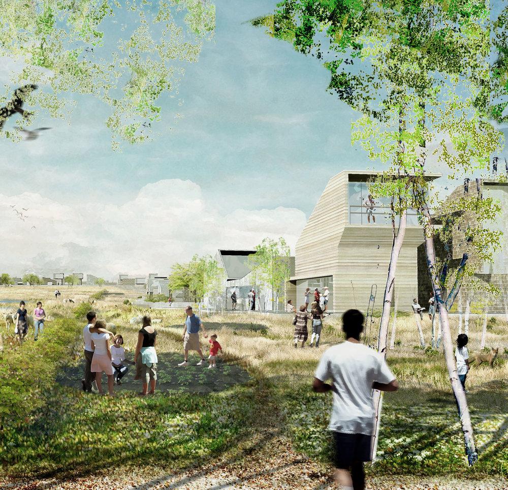 TANKEFULD VED SVENDBORG - Bæredygtigt boligområde med aktive tagflader, solceller og beplantning