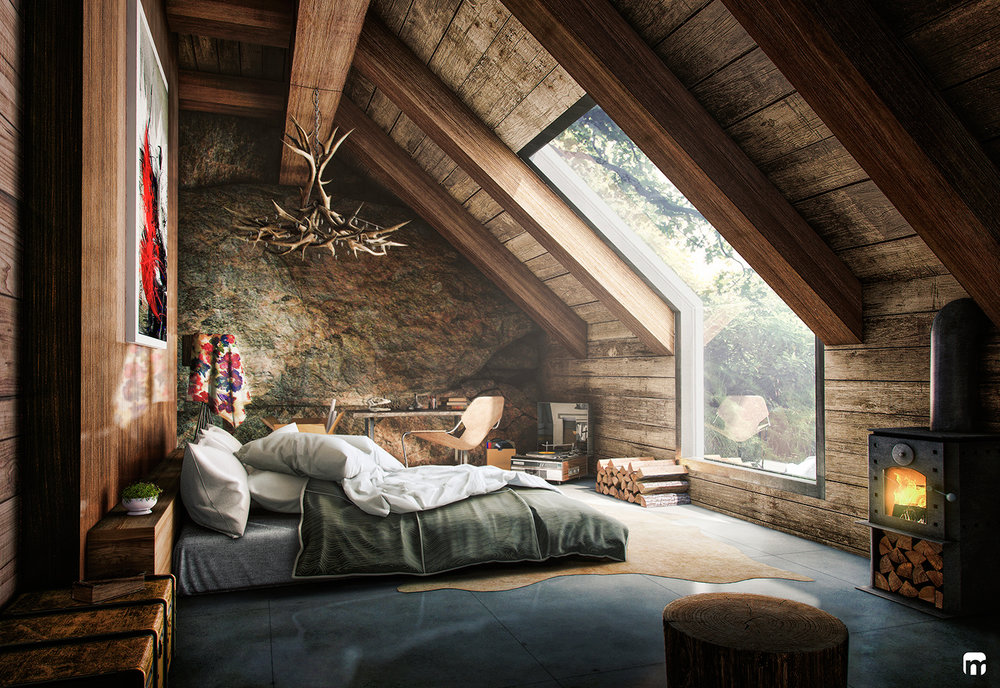 I'll admit that this isn't really a cabin but a 3D rendering but it truly gives all the cabin vibes | design by  Fernando Morrisoniesko