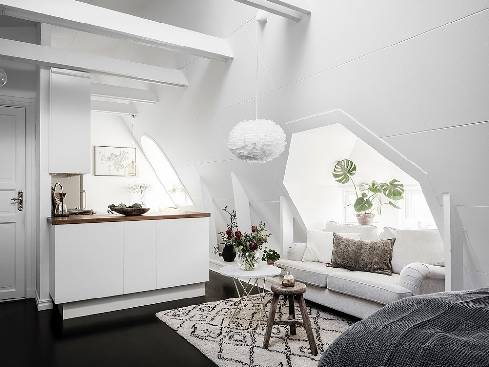 A bright attic studio apartment | photos by Anders Begstedt