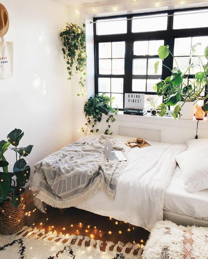 Plant-filled bedroom of Victoria Dahlberg