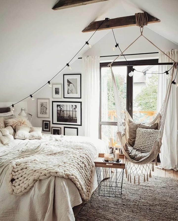 A boho attic bedroom