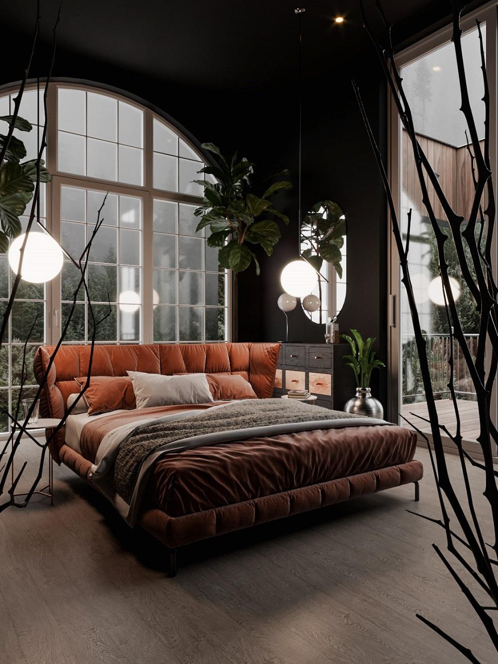 Impressive arched window in a black bedroom   visualisation by Marcin Kasperski