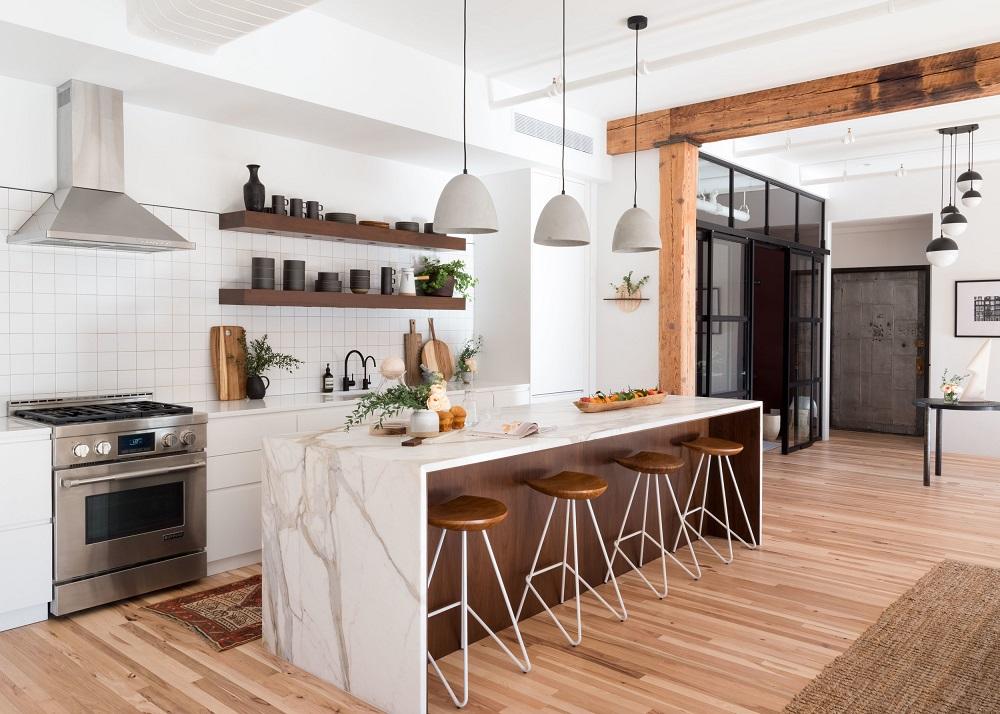 Beautiful marble kitchen in a SoHo loft