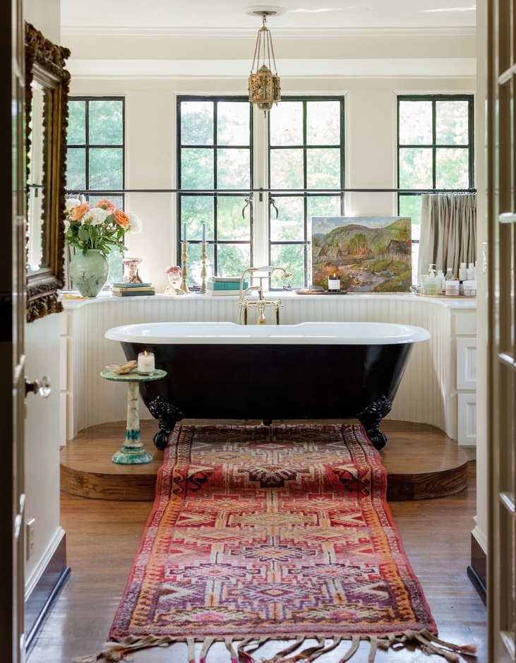 Classic bathroom in the Nashville home of Lily Aldridge & Caleb Followill | photo by Leslee Mitchell