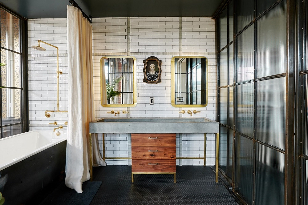 Industrial bathroom in the home of Alton Brown and Elizabeth Ingram | photo by Chandler Bondurant