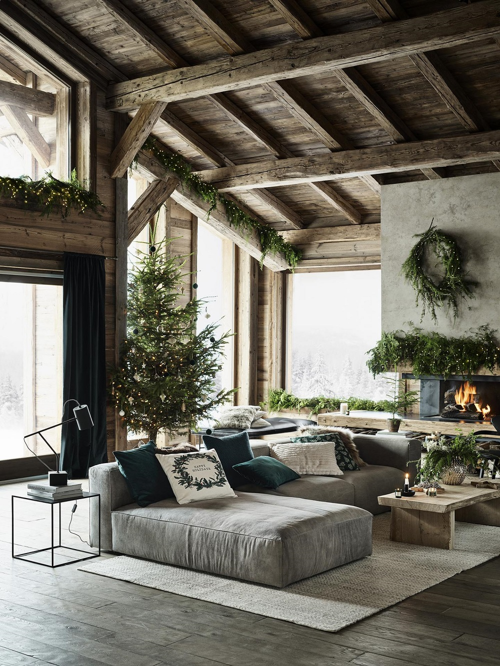 Amazing rustic vibe in this home used for the H&M Home Christmas collection