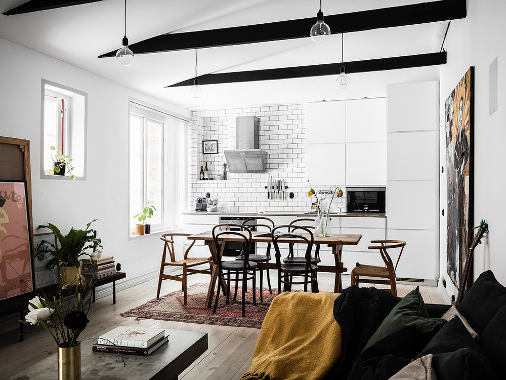 The Nordroom - A Cool Scandinavian Apartment with Exposed Beams