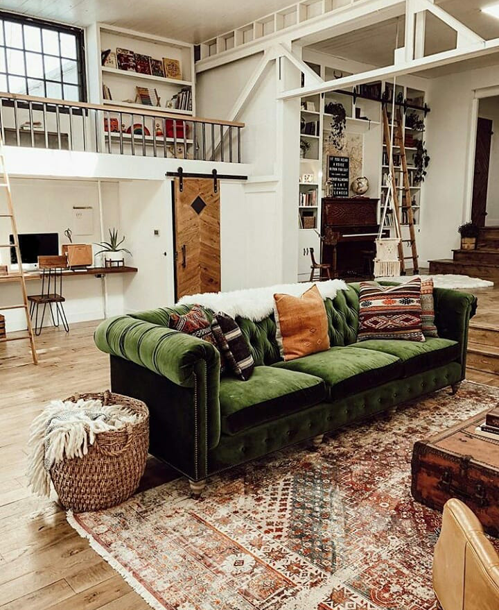The Nordroom - A Vintage Industrial Barn Home With A Beautiful Green Velvet Sofa