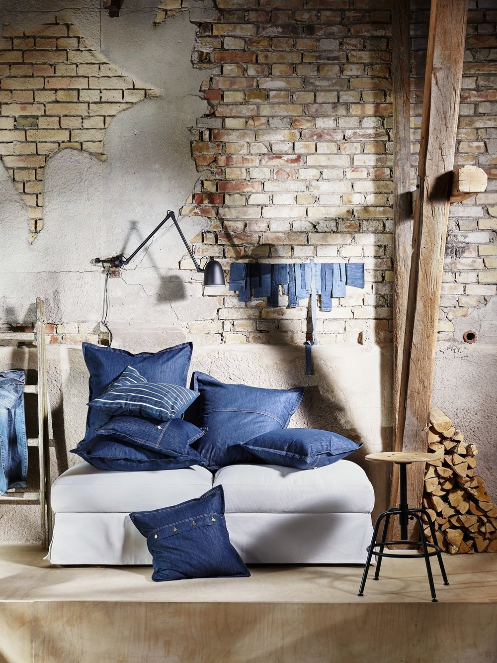 IKEA denim Sissil pillows  (dyed without a single drop of water and with less energy than regular denim)