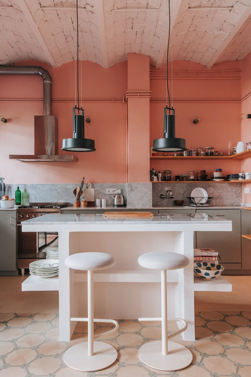 The Nordroom - A Barcelona Apartment With A Coral Pink Kitchen