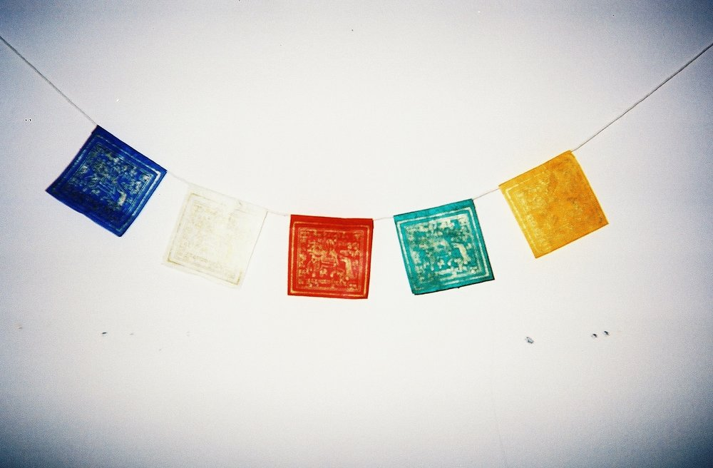 the prettiest string of prayer flags I found at the dumptique, one of my favorite finds