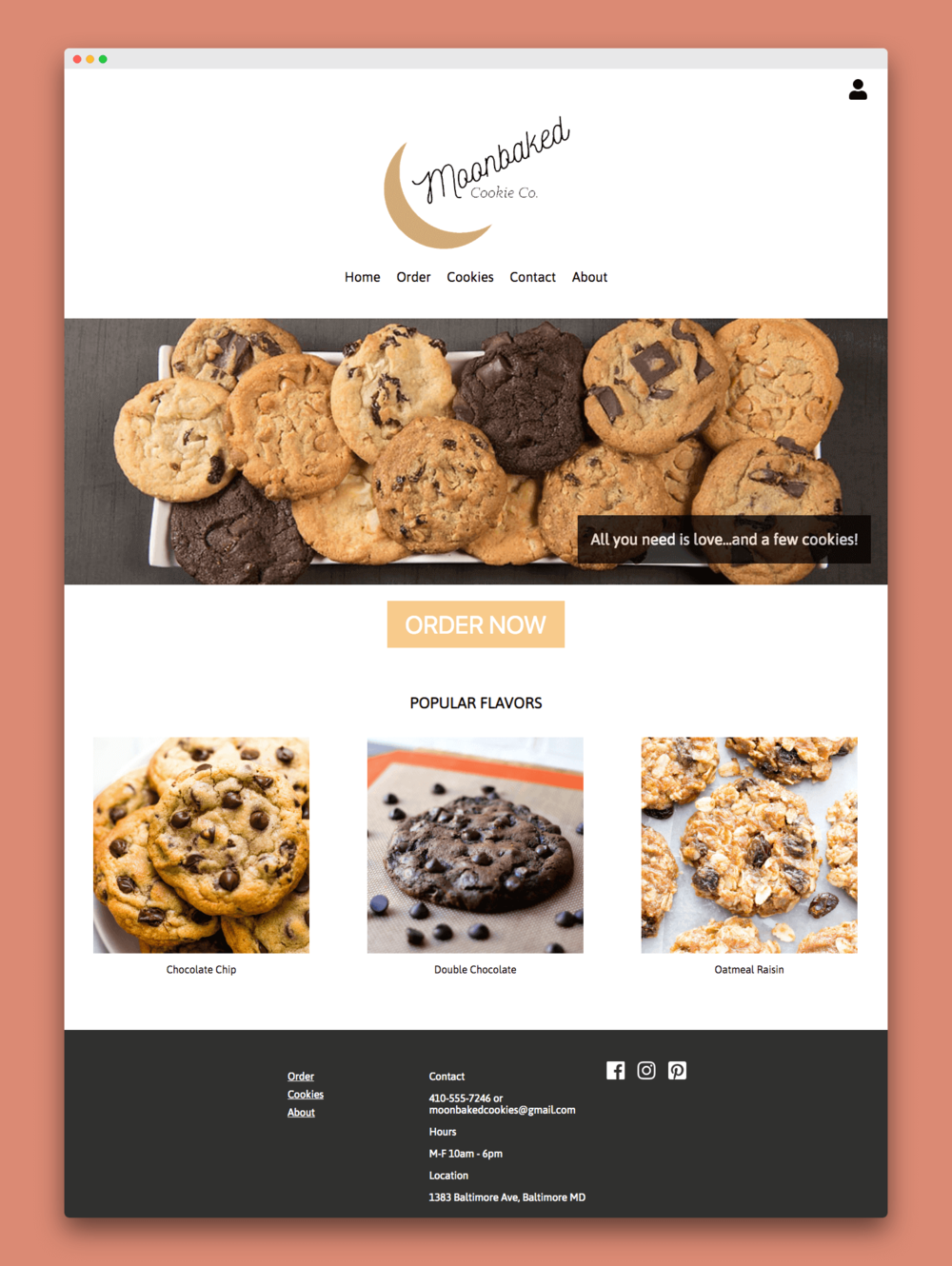 Moonbaked Cookie Co  Website Design — Shannon Cates