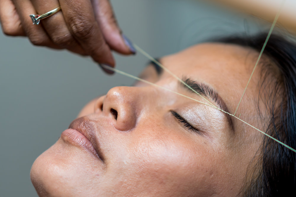 Threading Hair Removal - Upper lip or Chin (15 min)......$11.00Eyebrows (15 min)....................$16.00Full Face (30 min)....................$36.00