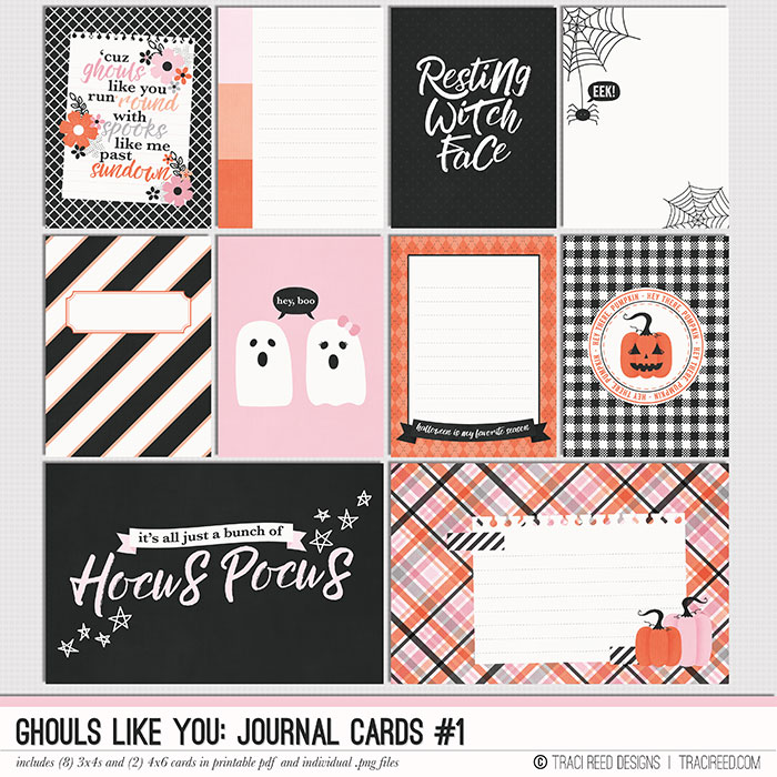 When you want a minimalist feel, but you also LOVE color, my card packs are the perfect touch for your pocket scrapbooking, traveler's notebooks and even regular layouts!