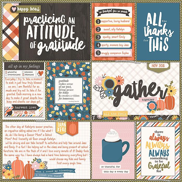 Krista created a beautiful Gratitude pocket page!