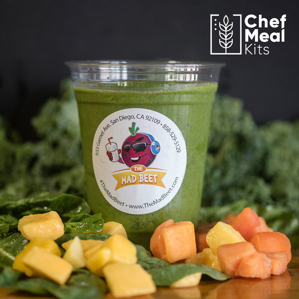 Salt n' Papaya - Looking for a tropical vibe with a twist. This mango, papaya, kale & spinach drink will provide a sweet pick me up throughout your day. Including a pinch of sea salt and a dash of tajin for that extra kick.