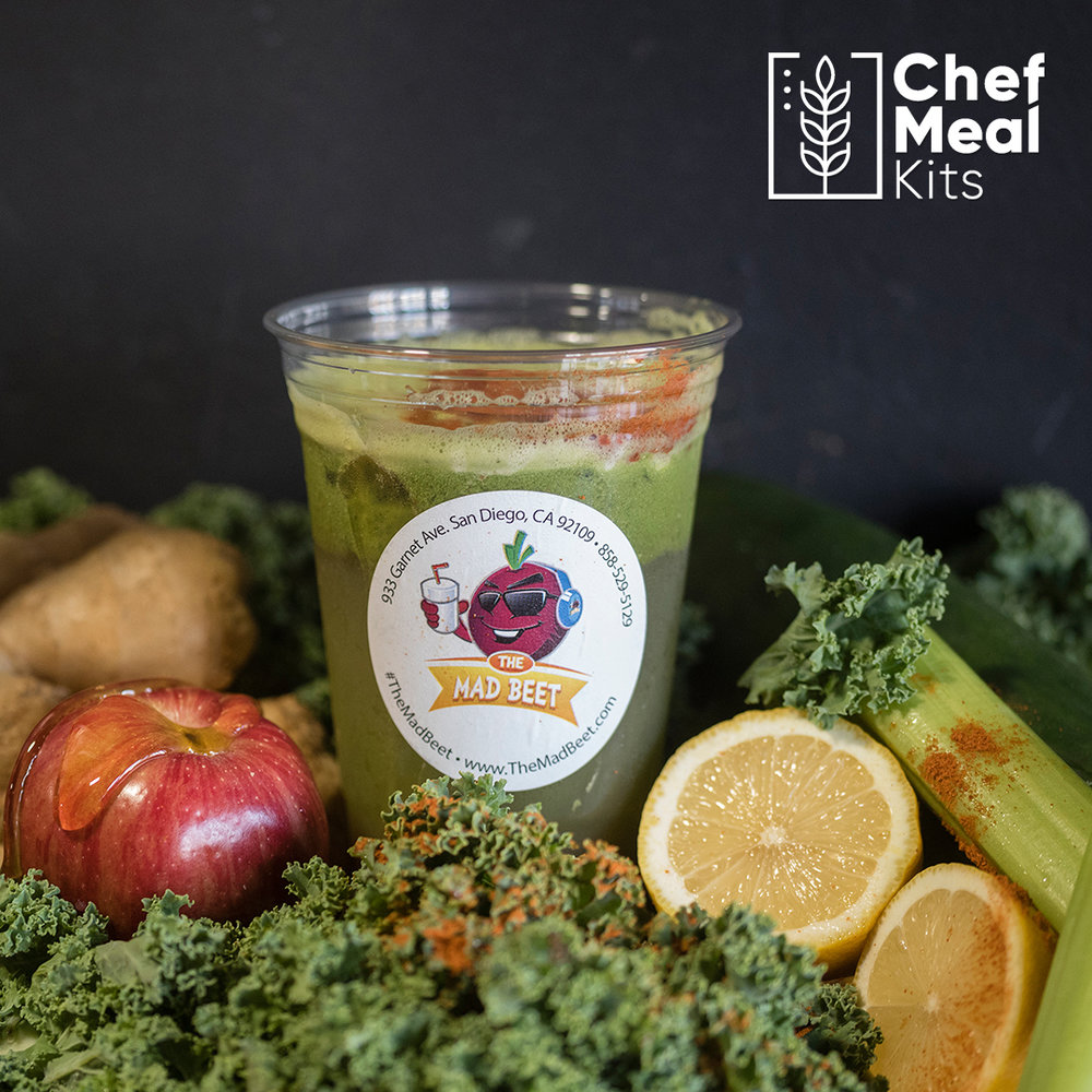 Lemonom - Start off your daily juice with your fundamental greens; kale, celery and cucumbers. Then give it a natural sweet taste with Fuji apples and honey. Then finish it off with a kick of lemon, ginger and cayenne pepper, and you have the best drink to quench any thirst, Lemonom.