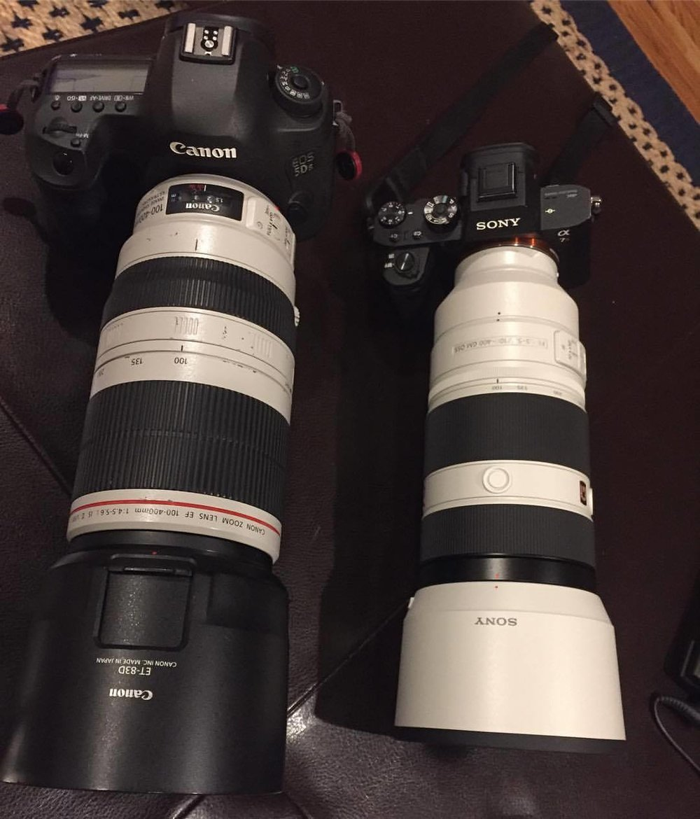 Size comparison of my Canon and Sony systems with equivalent 100-400 lenses.