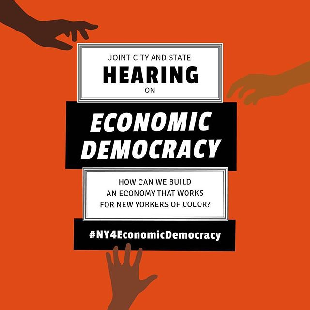 We're just one week away from the joint City and State hearing on #EconomicDemocracy! A better economy for New Yorkers of Color starts on November 20th by letting our government know that change needs to happen now! Learn more at economicdemocracy.nyc/RSVP #NY4EconomicDemocracy