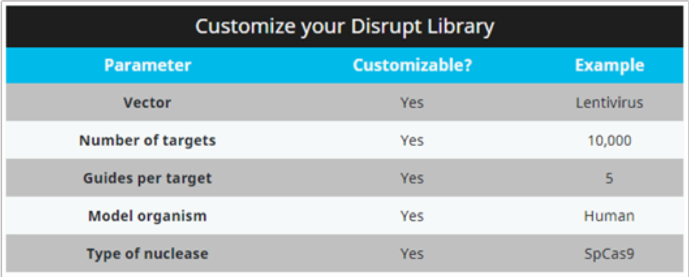 Example of a customised CRISPR library for gene disruption, with a choice of delivery system and other factors ( www.deskgen.com )