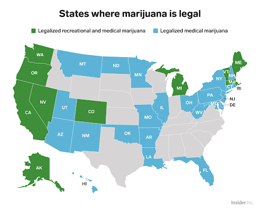 US Map of Marijuana Legal Use, Credit: Business Insider
