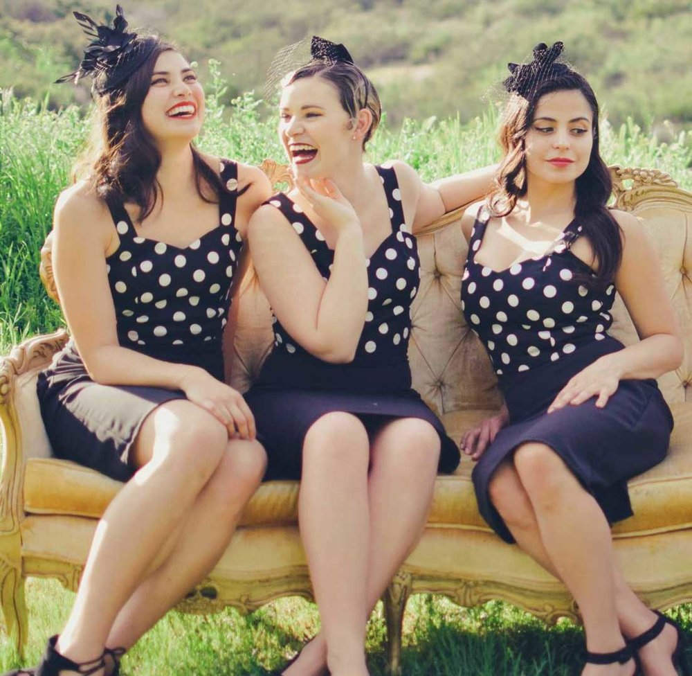 The San Andreas Sisters - This year, you'll be swinging to the sounds of The San Andreas Sisters! This delightful trio of gals sing the classic tunes of the swing era.