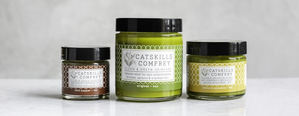 Catskill Comfrey in Three Varieties - Chili Pepper, Original, Arnica & Calendula