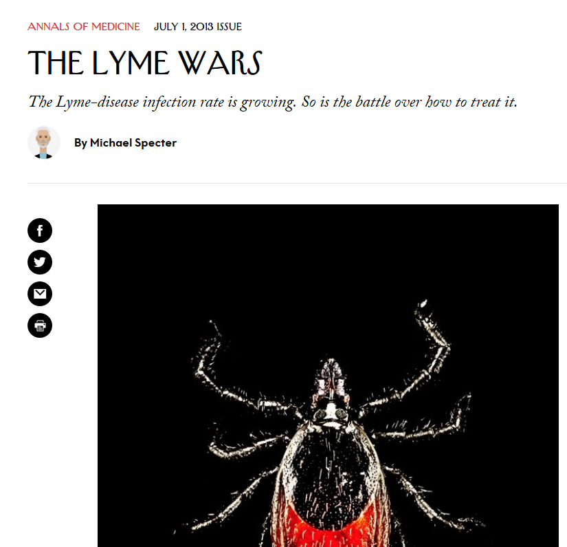 The Lyme Wars - Informative article published in the New Yorker in 2013