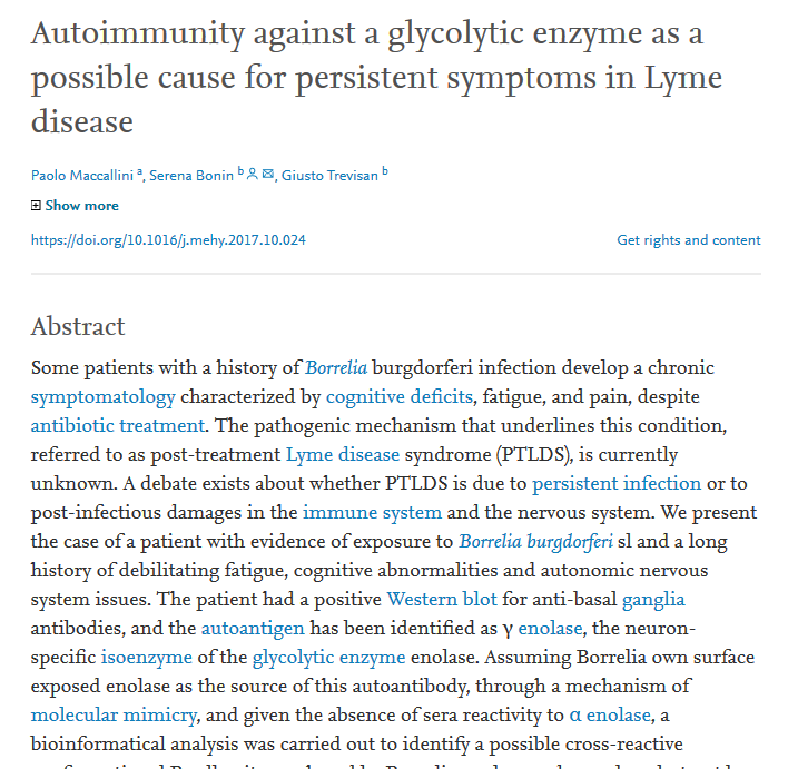Lyme Disease - 2018 paper highlighting the discovery of a new autoantigen for persistent Lyme disease symptoms