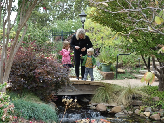 Children love the footbridge where they can feed the koi.