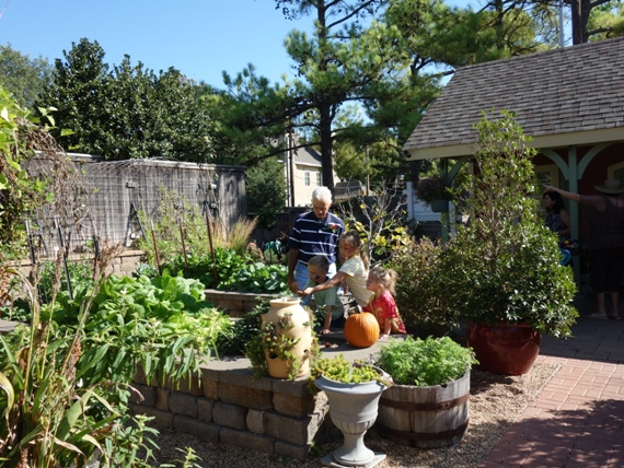 Raised beds in the central portion provide well-drained areas for all kinds of vegetables.