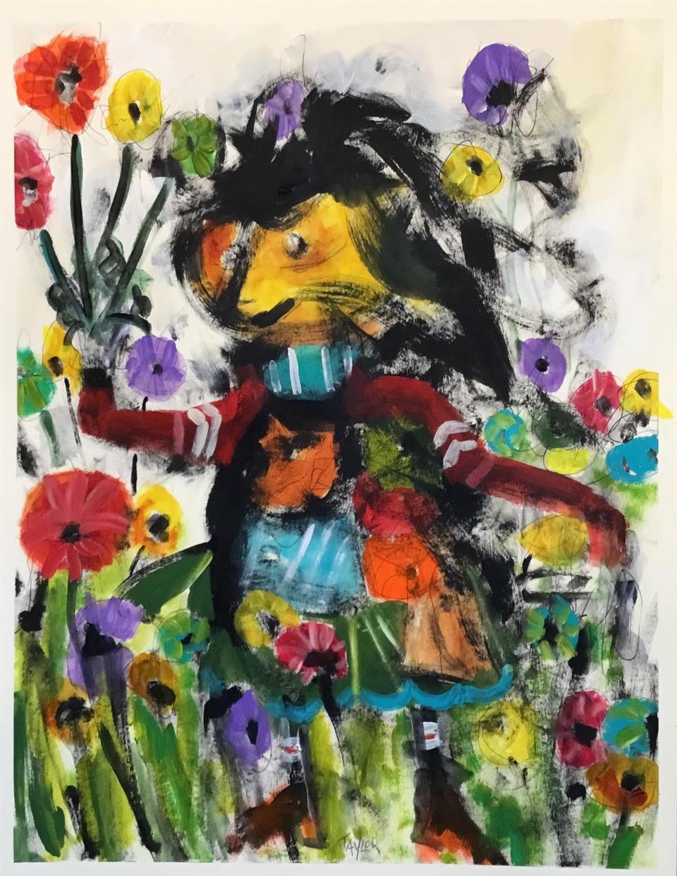 "The Flower Goddess        26"" x 20""       Acrylic on Paper .jpg"