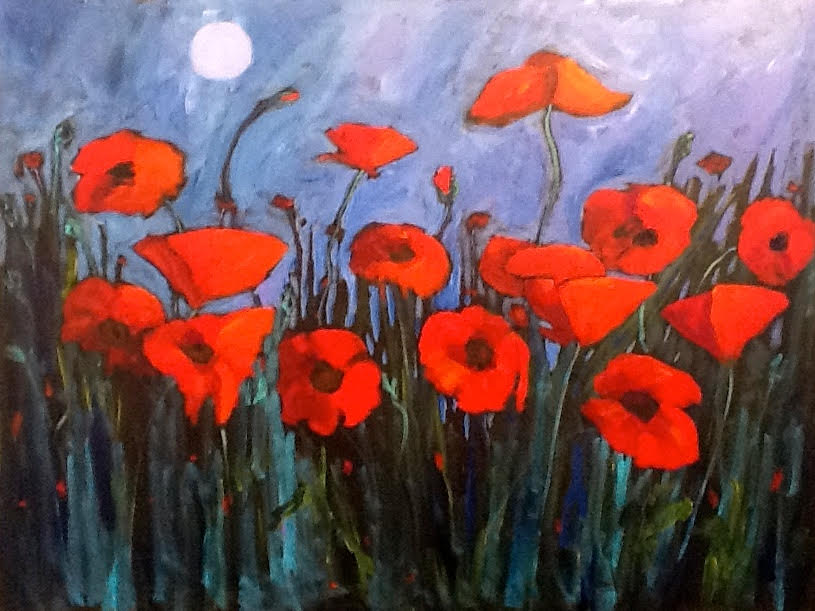 Blue Moon with Poppies