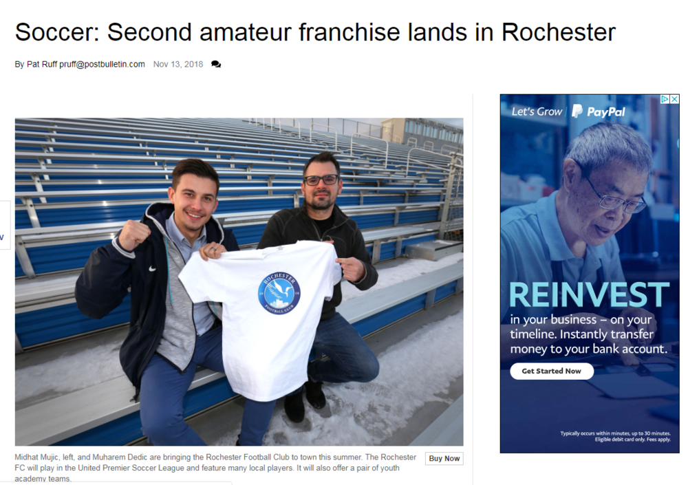 Check out our stories   https://www.postbulletin.com/sports/localsports/soccer-second-amateur-franchise-lands-in-rochester/article_1e5ed5b2-e6bb-11e8-aa7f-4ffd091b34b6.html    https://www.postbulletin.com/life/lifestyles/seen-and-heard--something-soccer-player-shows-how-it/article_3afca59a-138f-11e9-b1d4-d35d2e95e197.html    https://www.austindailyherald.com/2019/01/austin-soccer-players-hitting-the-road/